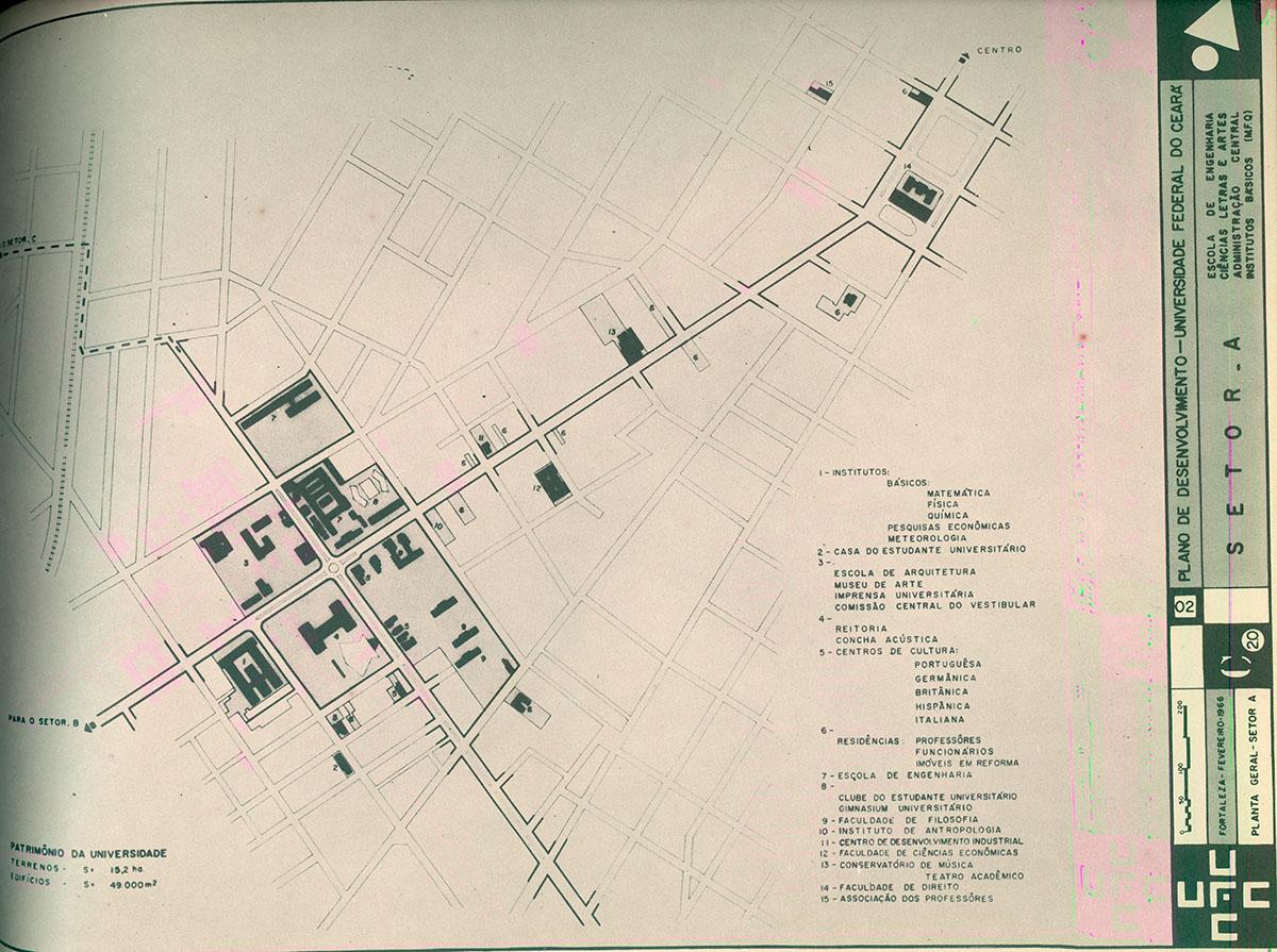 Mapa das instalações universitárias no bairro do Benfica. Plano de desenvolvimento da UFC – 1966/1970, 1966.