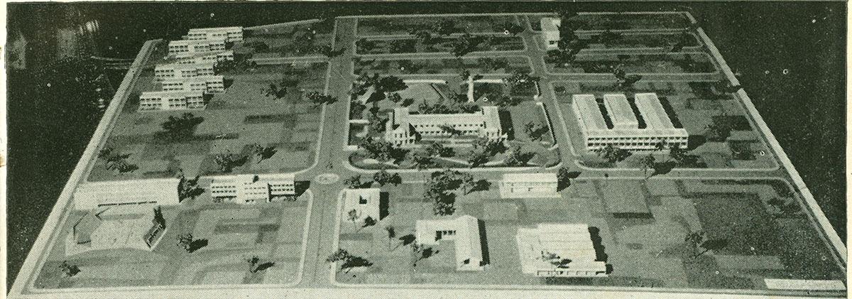 Maquete do campus universitário no Benfica, 1965.